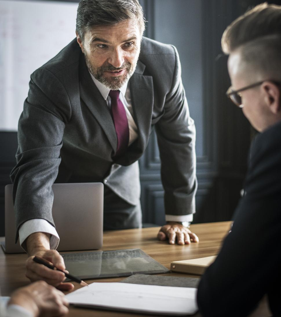 Download Free Stock HD Photo of Businessmen in a meeting with negotiations Online