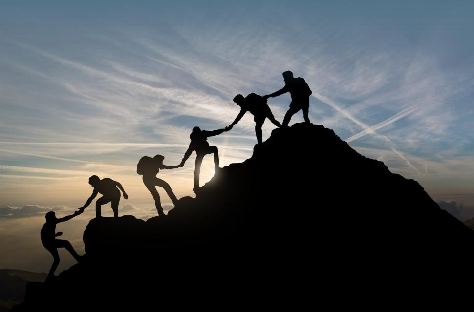 Download Free Stock HD Photo of Reaching the Summit - Team Work - Group Effort - Success  Online