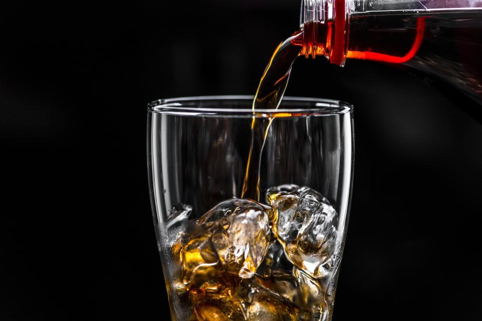 Download Free Stock HD Photo of Soft drink being poured into a glass with ice Online