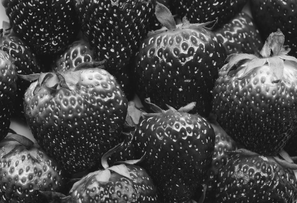 Download Free Stock HD Photo of Dark black and white close up of strawberries Online