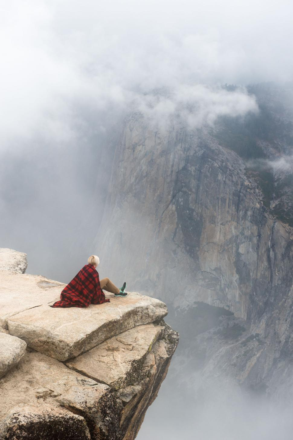 Man Sitting On Rock At Top Of Mountain Looking To Sky Stock Photo Image Of Heaven Backdrop 106930026