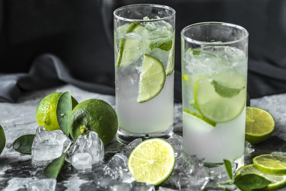 Download Free Stock HD Photo of Close up of two glasses full of chilled mojito Online