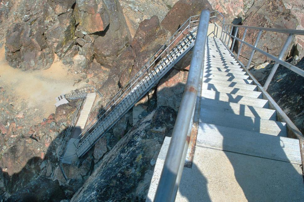 Download Free Stock HD Photo of Steep steps down from lookout tower Online