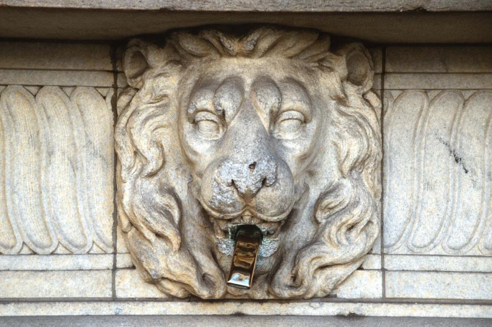 Free image of Fountain with carved lion head