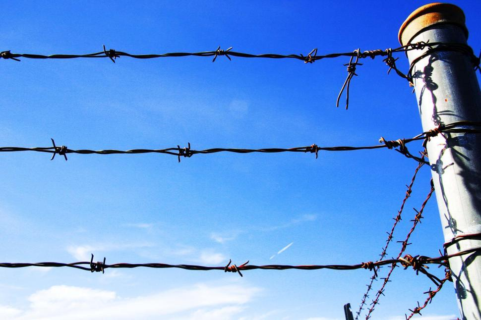 Download Free Stock HD Photo of Barbed wire fence topper Online