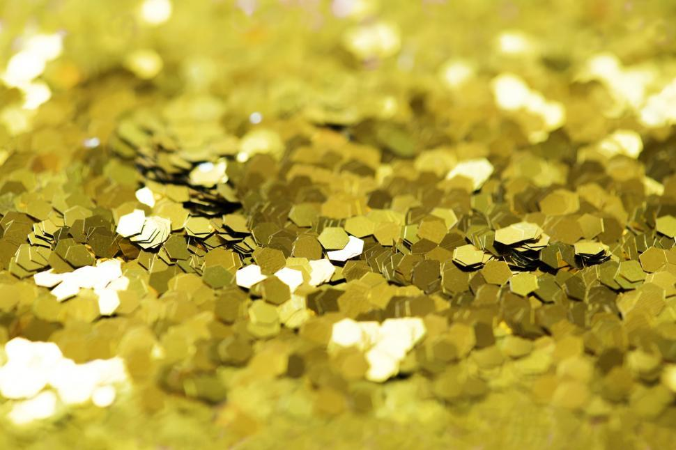 Download Free Stock HD Photo of Golden hexagonal glitter sparkles Online