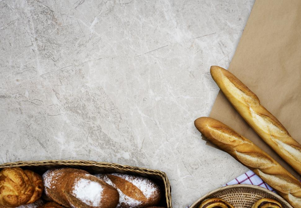 Download Free Stock HD Photo of Varieties of bread with copyspace Online