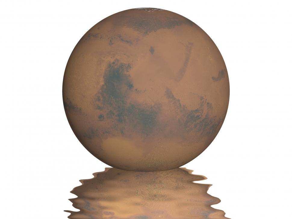 Download Free Stock HD Photo of Planet Mars with small wavy reflection under it Online