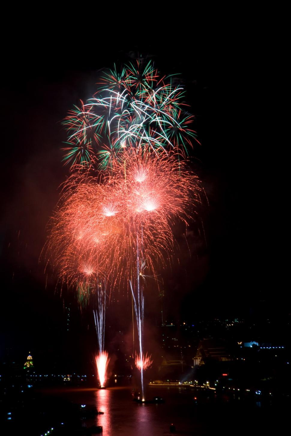 Download Free Stock HD Photo of Fireworks over Chao Phraya river, Bangkok Online