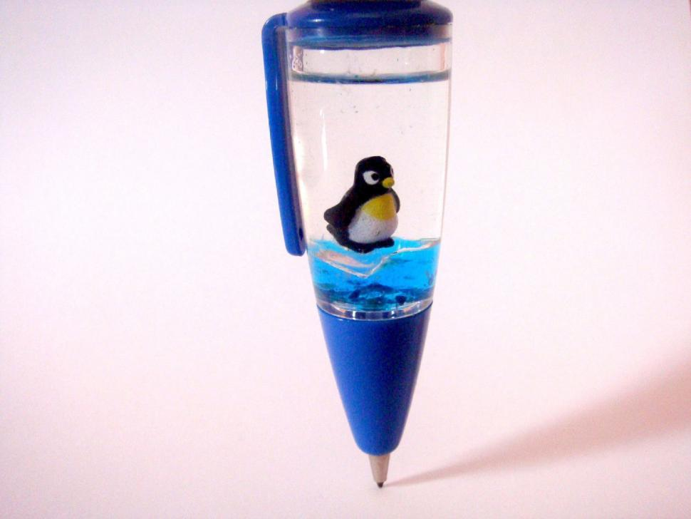 Download Free Stock HD Photo of Penguin Blue Ball Pen Online
