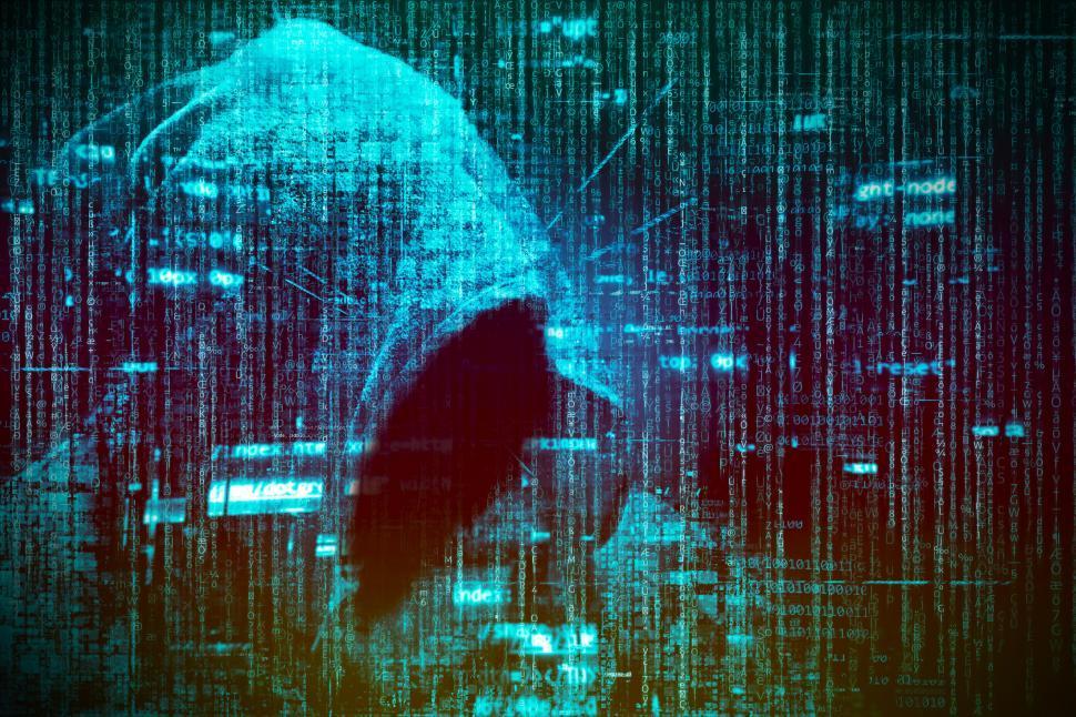 Computer Hacker over Computer Code - Blue Version