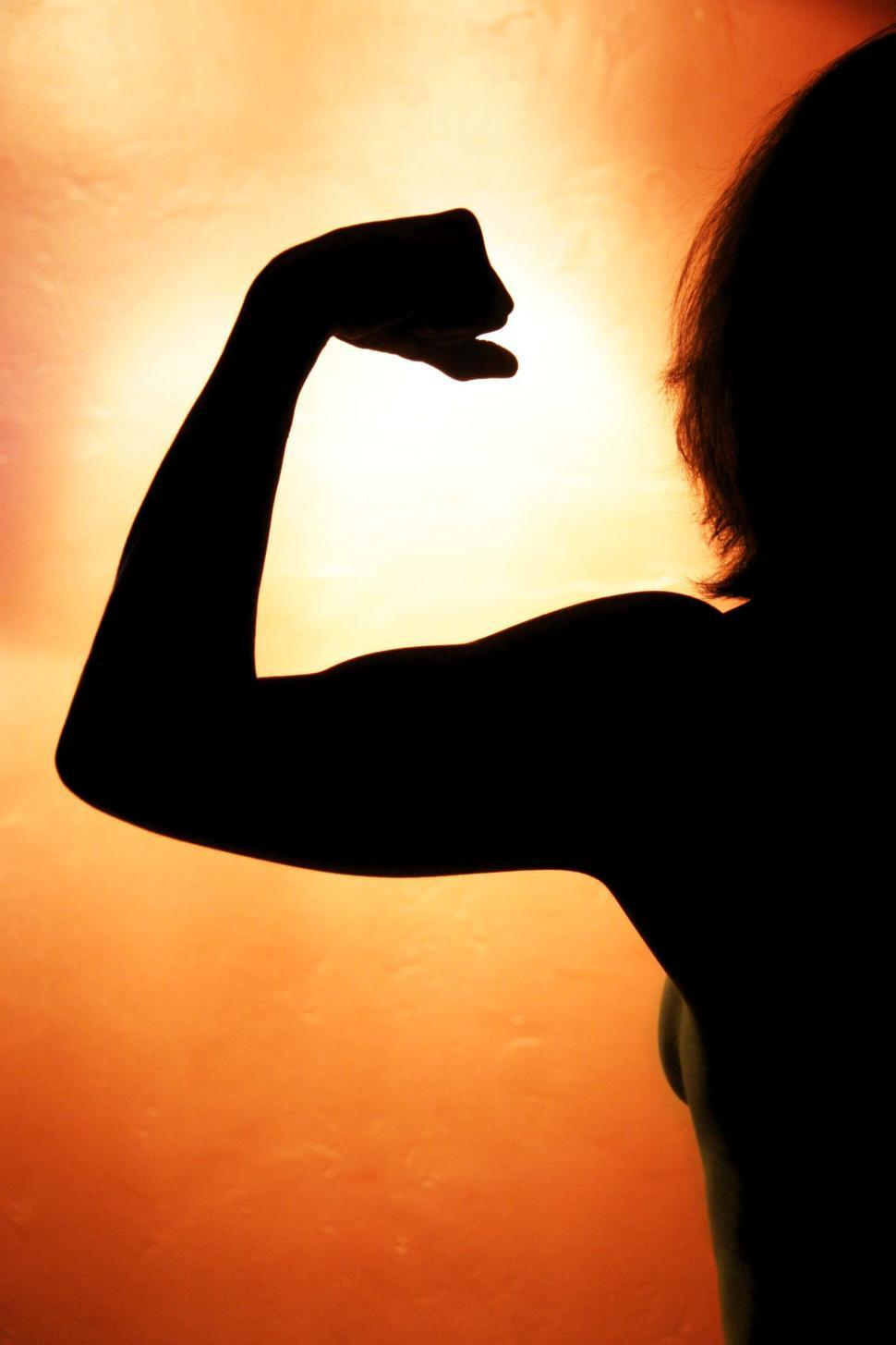 Free image of Silhouette of woman flexing biceps