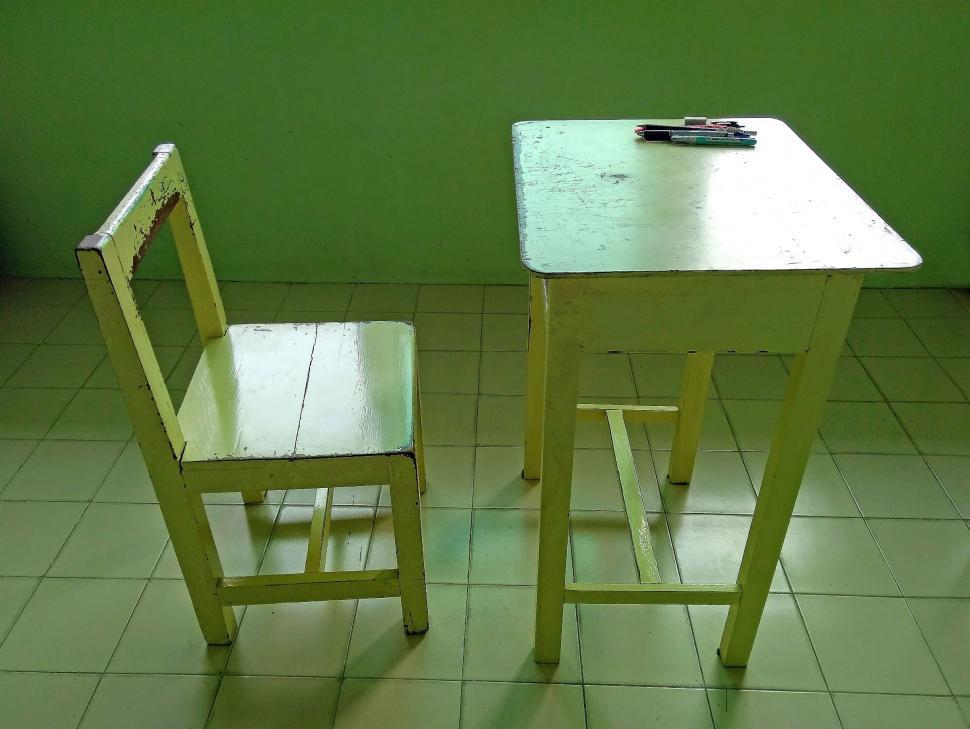Vintage Wooden School Desk And Chair, Vintage Wooden School Desk And Chair