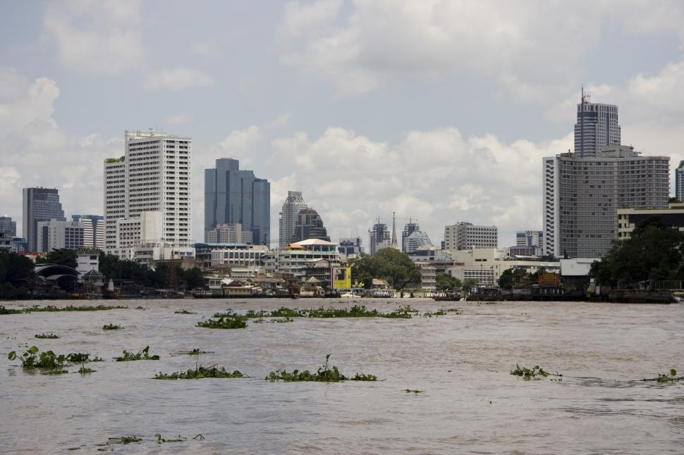 Download Free Stock HD Photo of Buildings along the river, Bangkok Online