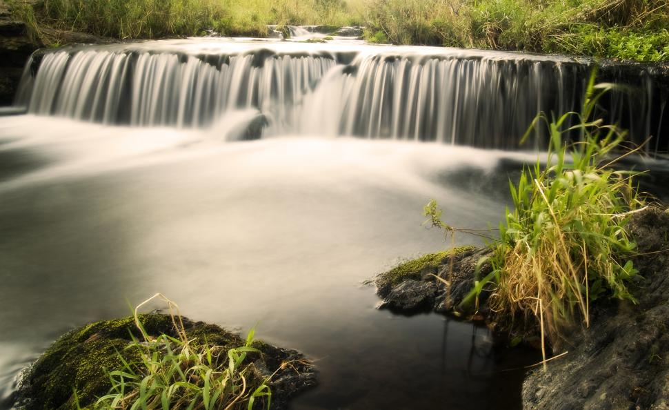 Free image of Small waterfall on a river.