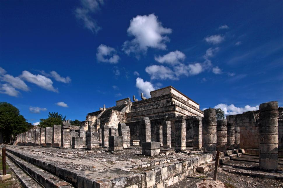 Free image of Temple of a Thousand Columns at Chichen-itza.