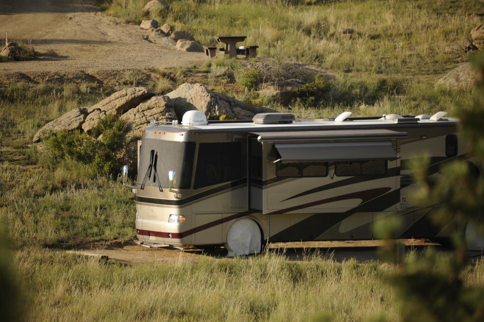Download Free Stock HD Photo of Recreational Vehicle RV Camping Online