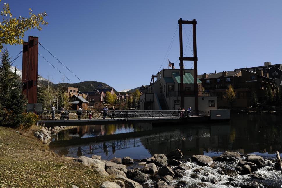 Download Free Stock HD Photo of metal pedestrian bridge Online