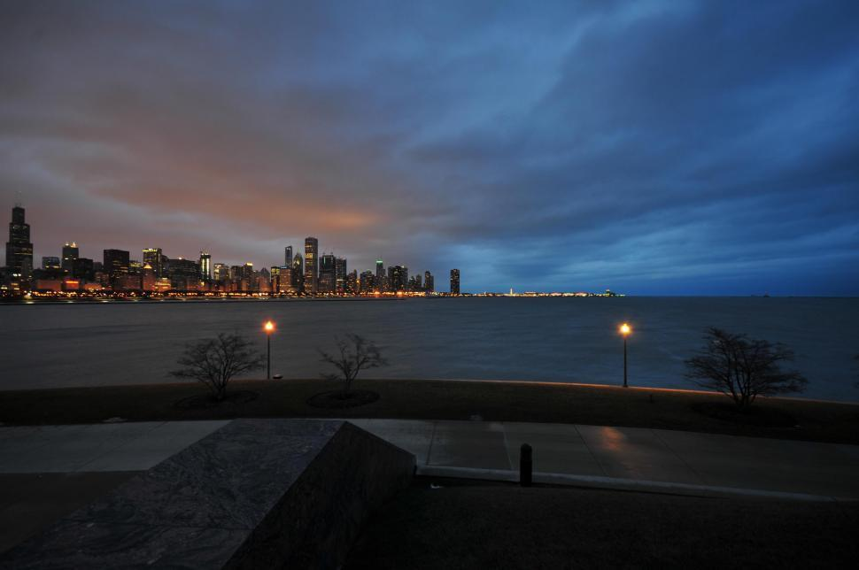 Download Free Stock HD Photo of Chicago skyline across lake Online