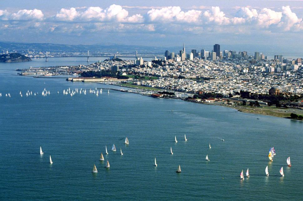 Download Free Stock HD Photo of San Francisco bay, city and sailboats Online