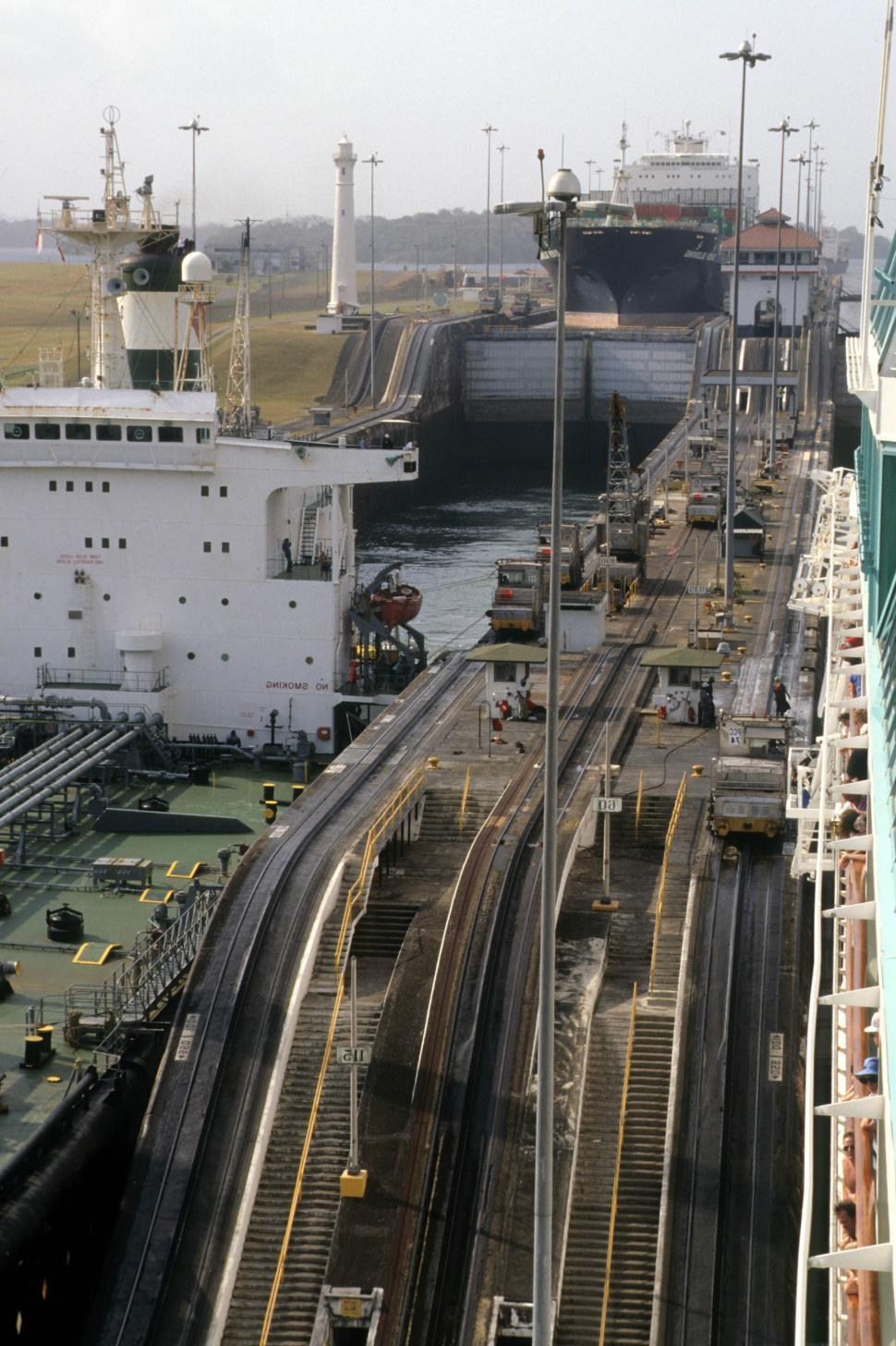 Download Free Stock HD Photo of Filling the lock - Panama Canal Online