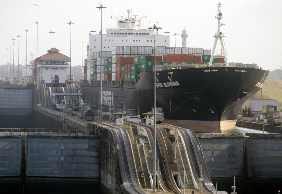 Download Free Stock HD Photo of Ship in lock at Panama Canal Online