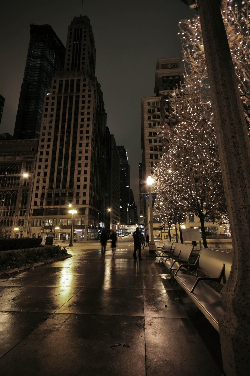 Download Free Stock HD Photo of Chicago sidewalk at night Online