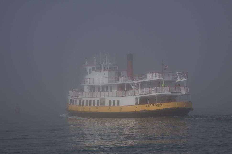 Download Free Stock HD Photo of Ship disappearing into the fog Online