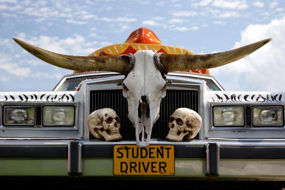 Download Free Stock HD Photo of Old car with Student driver licenses plate Online