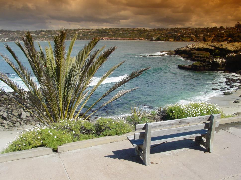 Download Free Stock HD Photo of Oceanfront Bench view of La Jolla, CA Online