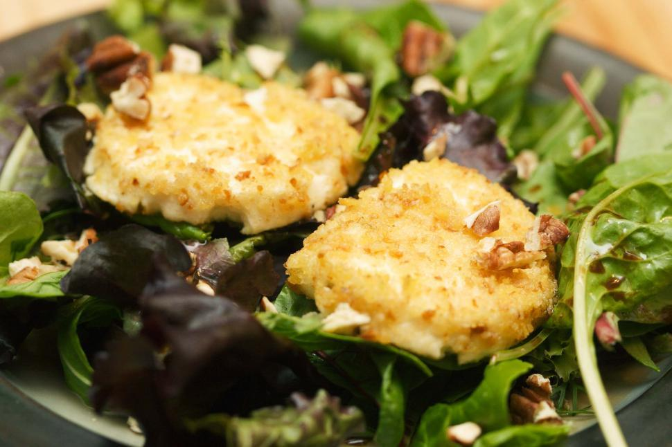 Download Free Stock HD Photo of Fried Goat Cheese on Salad Online