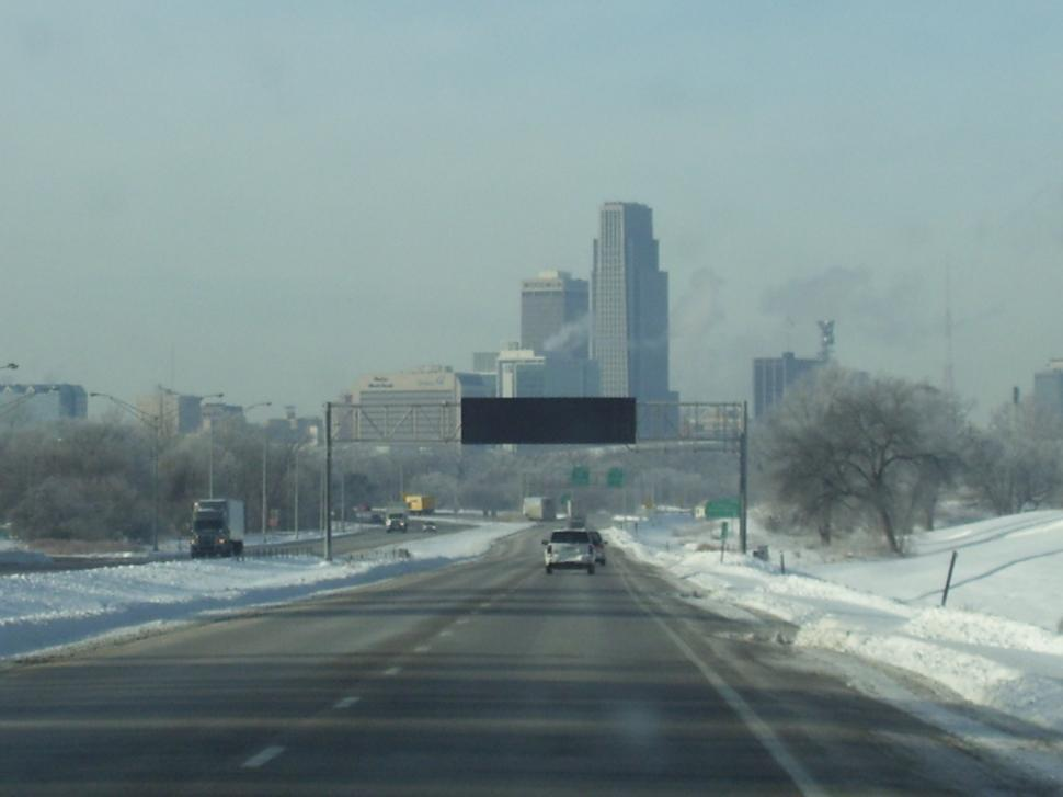 Download Free Stock HD Photo of Winters Day driving into Omaha Neb. Online