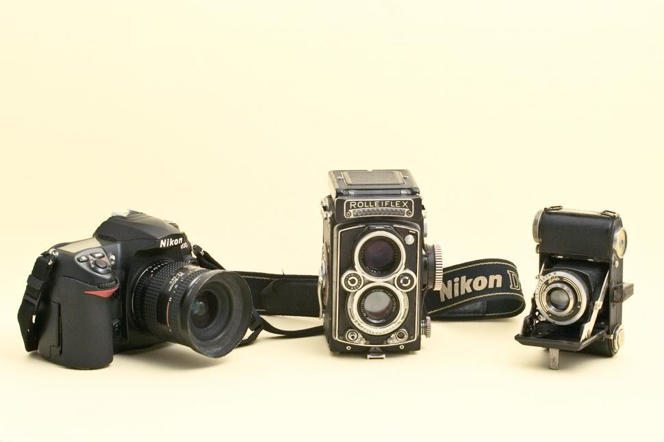 Free image of Old  and new cameras. Editorial use only.
