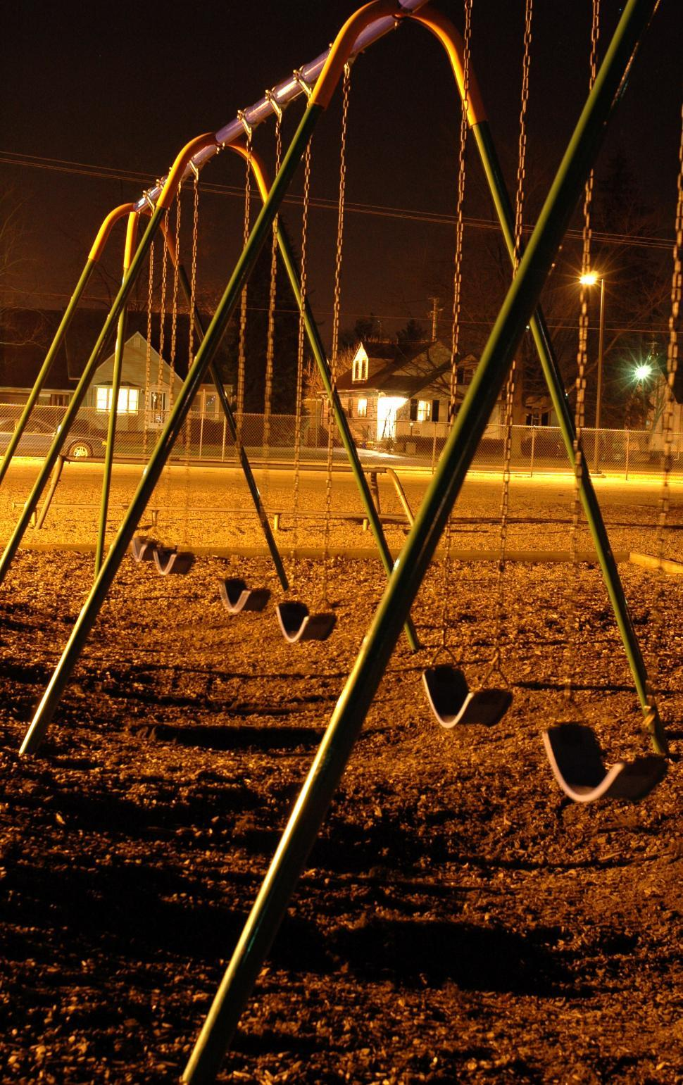 Download Free Stock HD Photo of Swings at night Online