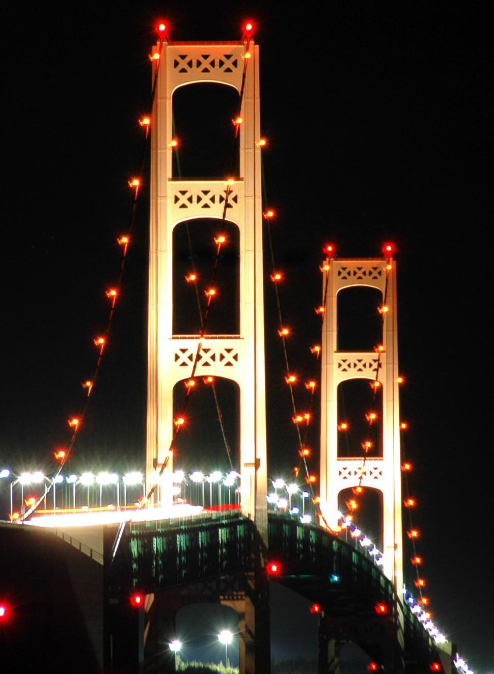 Download Free Stock HD Photo of Mackinac Bridge at Night Online