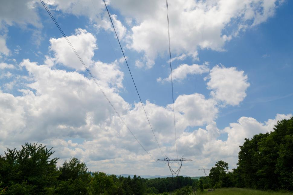 Download Free Stock HD Photo of Electrical Wires against Partly Cloudy Skies Online