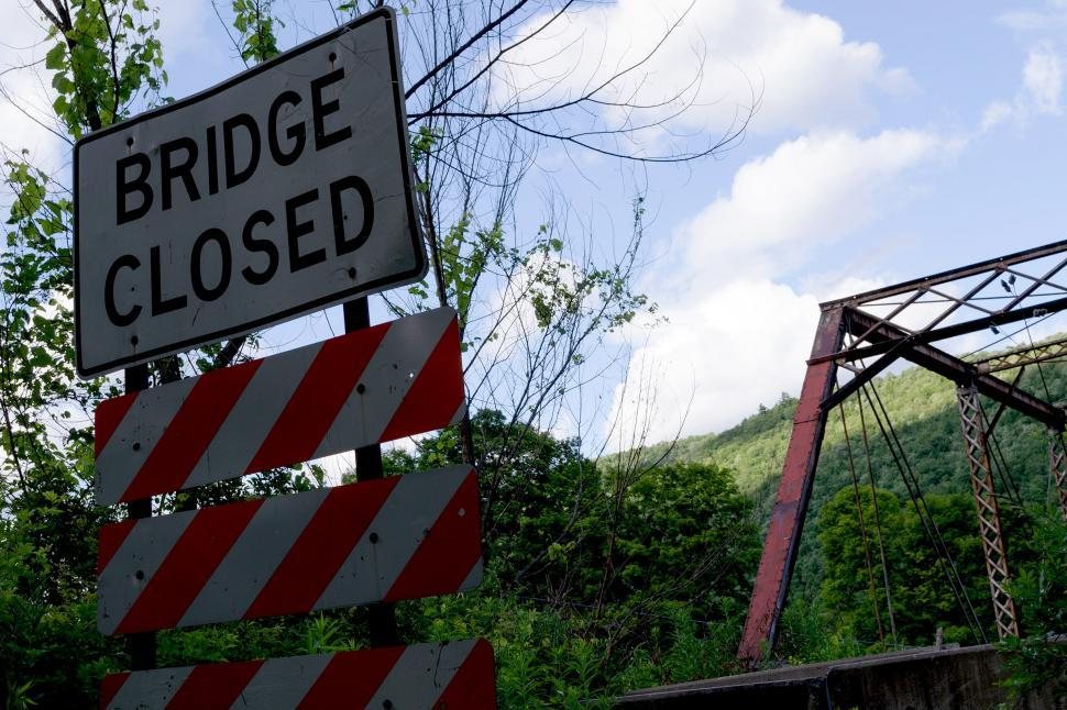 Download Free Stock HD Photo of Bridge Closed Sign and Bridge Entrance Online