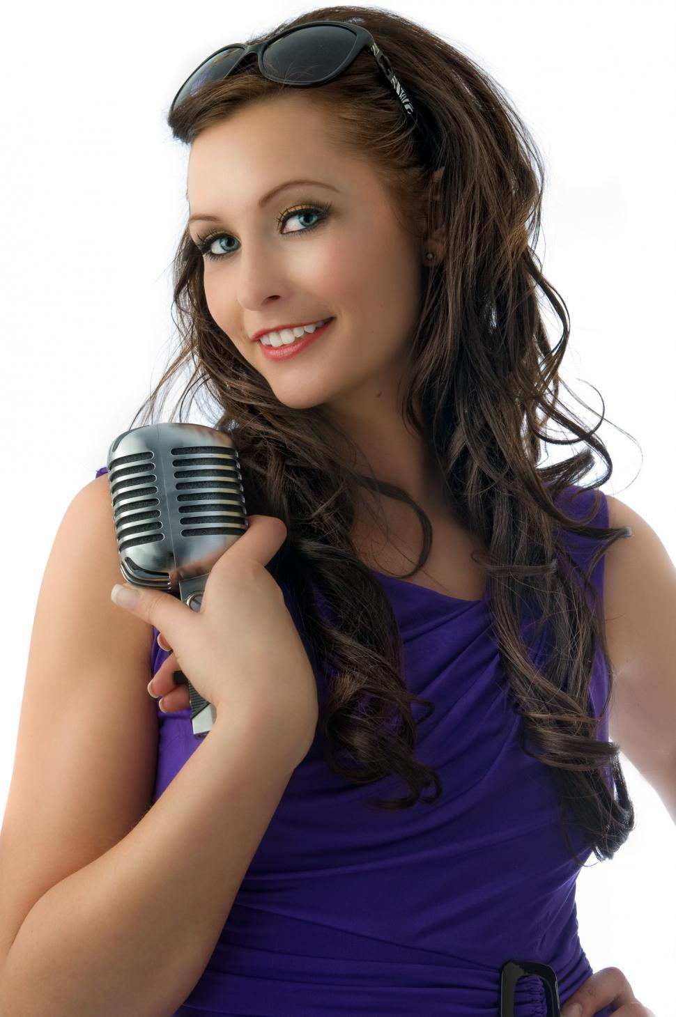 Download Free Stock HD Photo of Singer with microphone Online