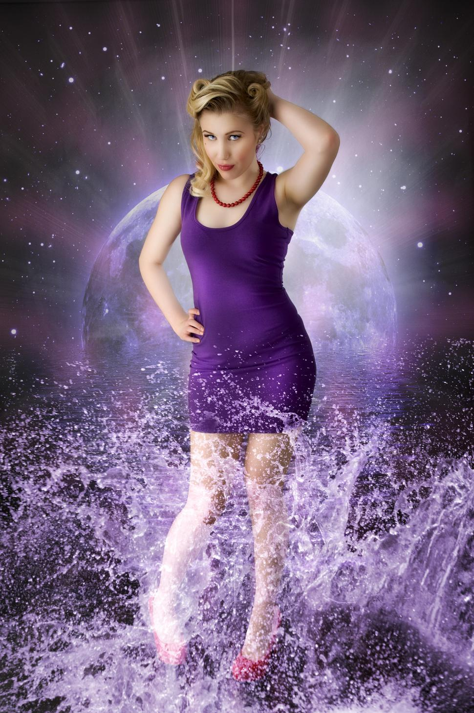 Download Free Stock HD Photo of Woman in space splash scene Online