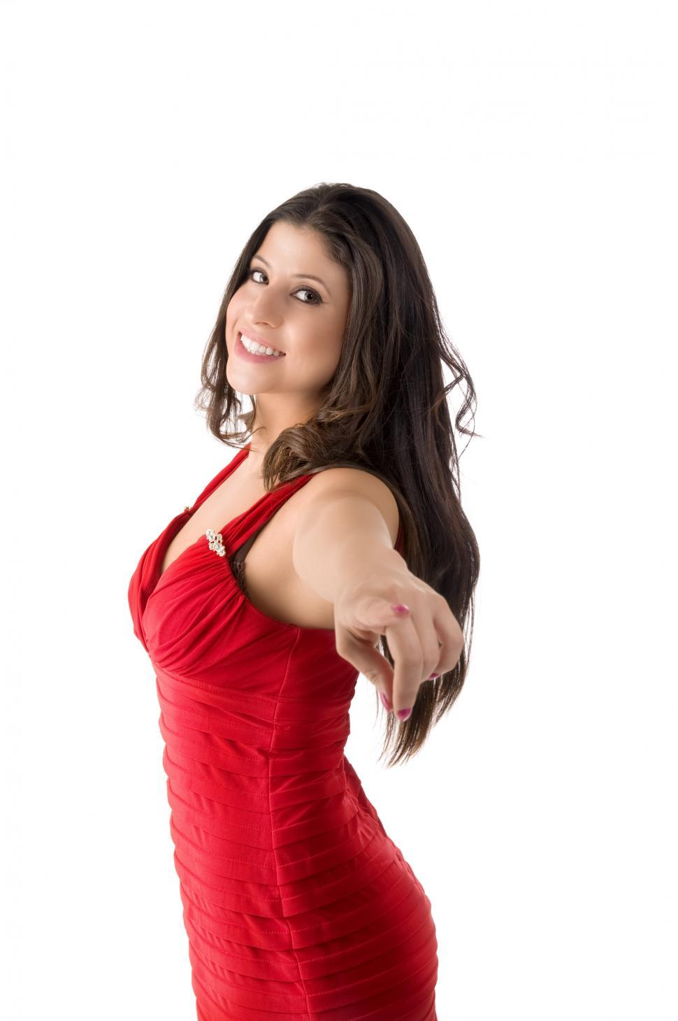 Download Free Stock HD Photo of Woman in red point at camera Online