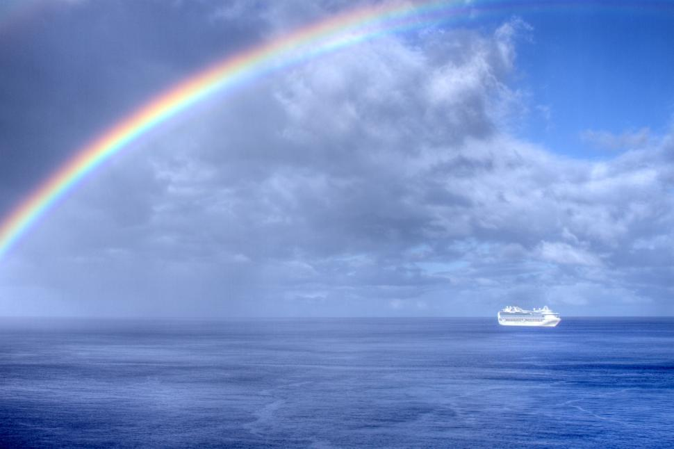 Download Free Stock HD Photo of Rainbow and Ship Online