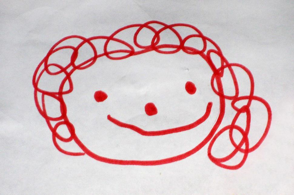 Childs drawing of happy face