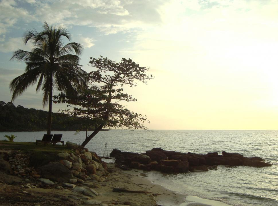 Download Free Stock HD Photo of Tropical Island at Sunset Online