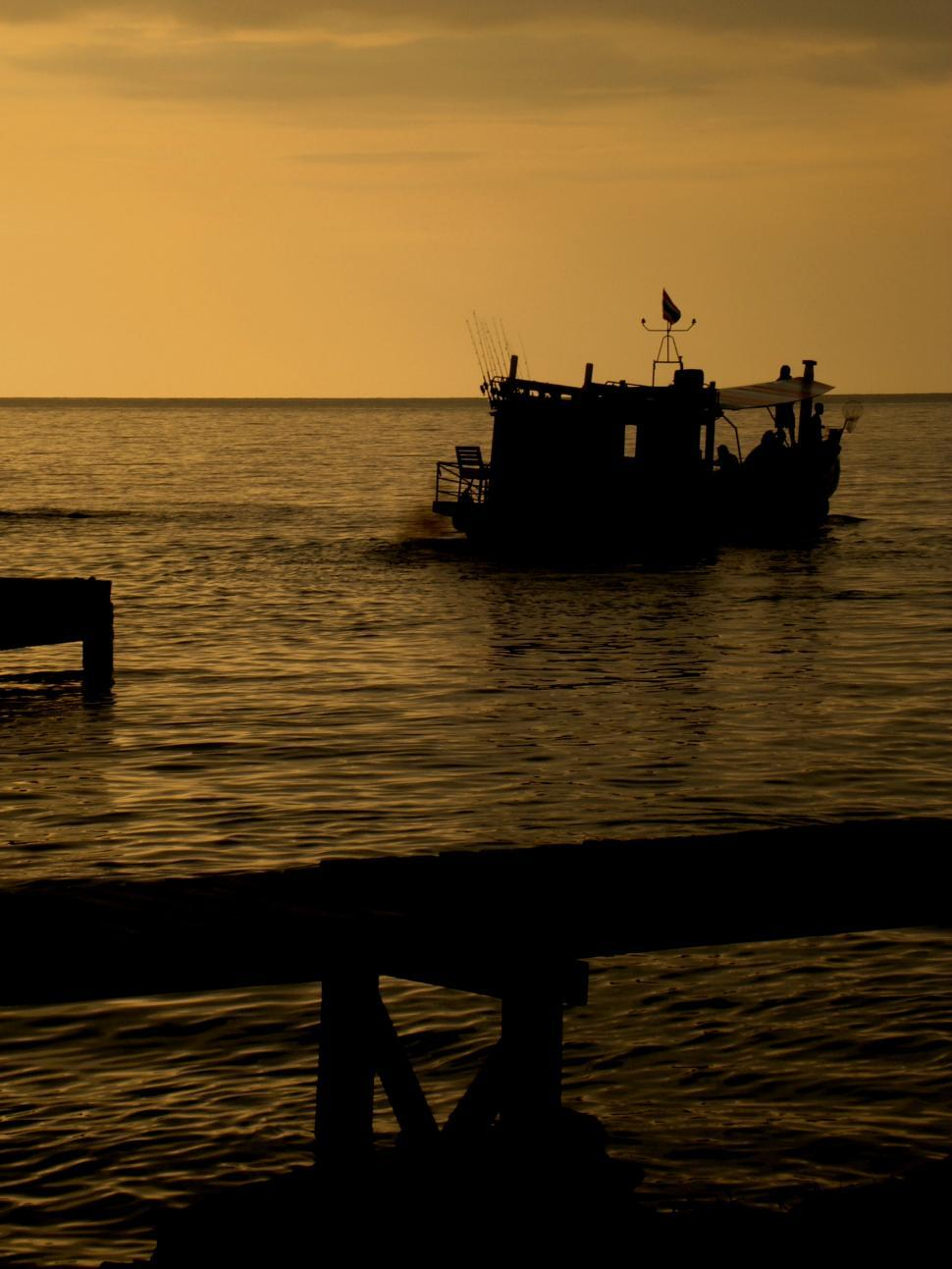 Download Free Stock HD Photo of Fishing Boat on Golden Sunset Online