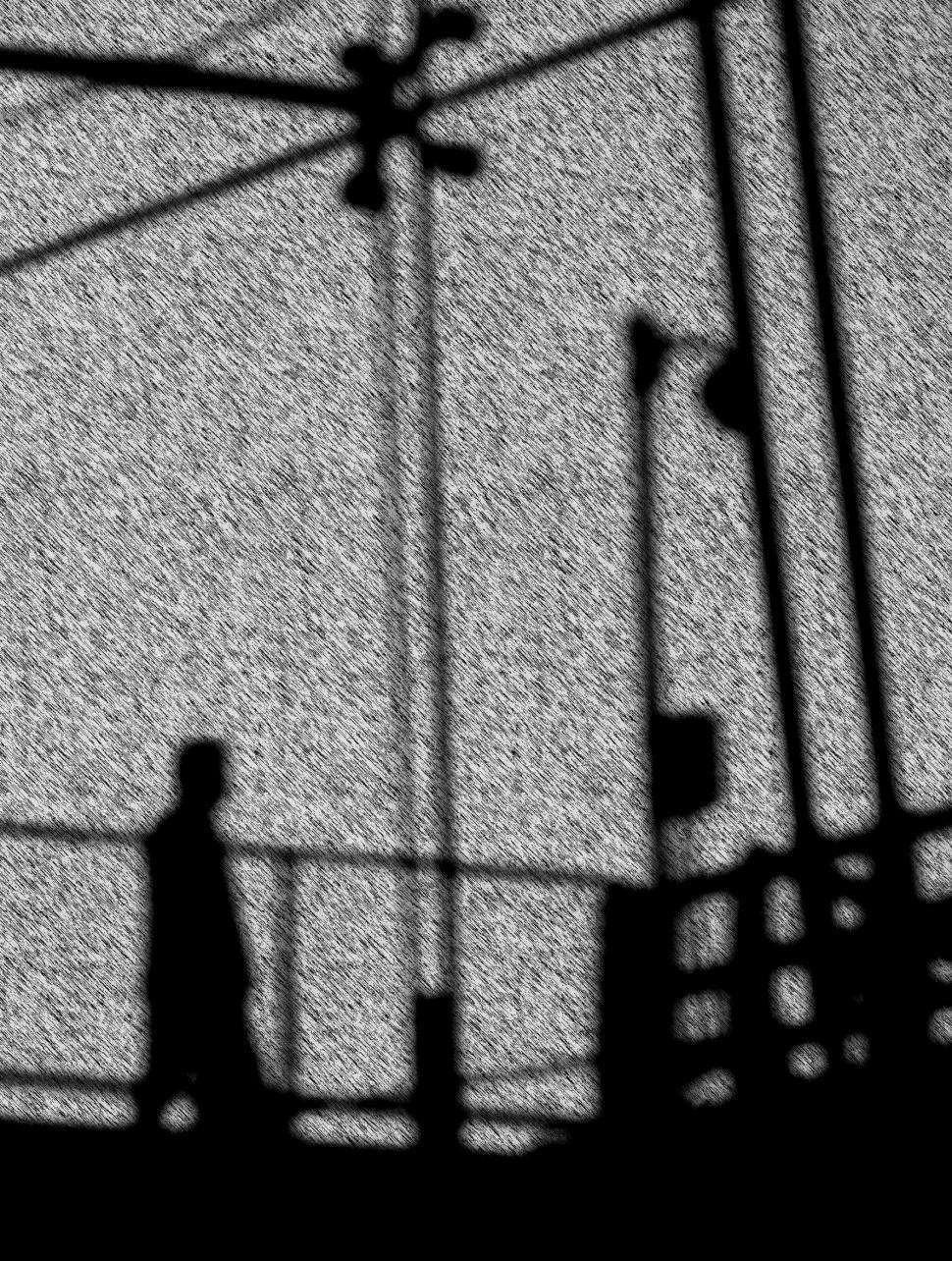 Walking Man Silhouette Sketch Effect