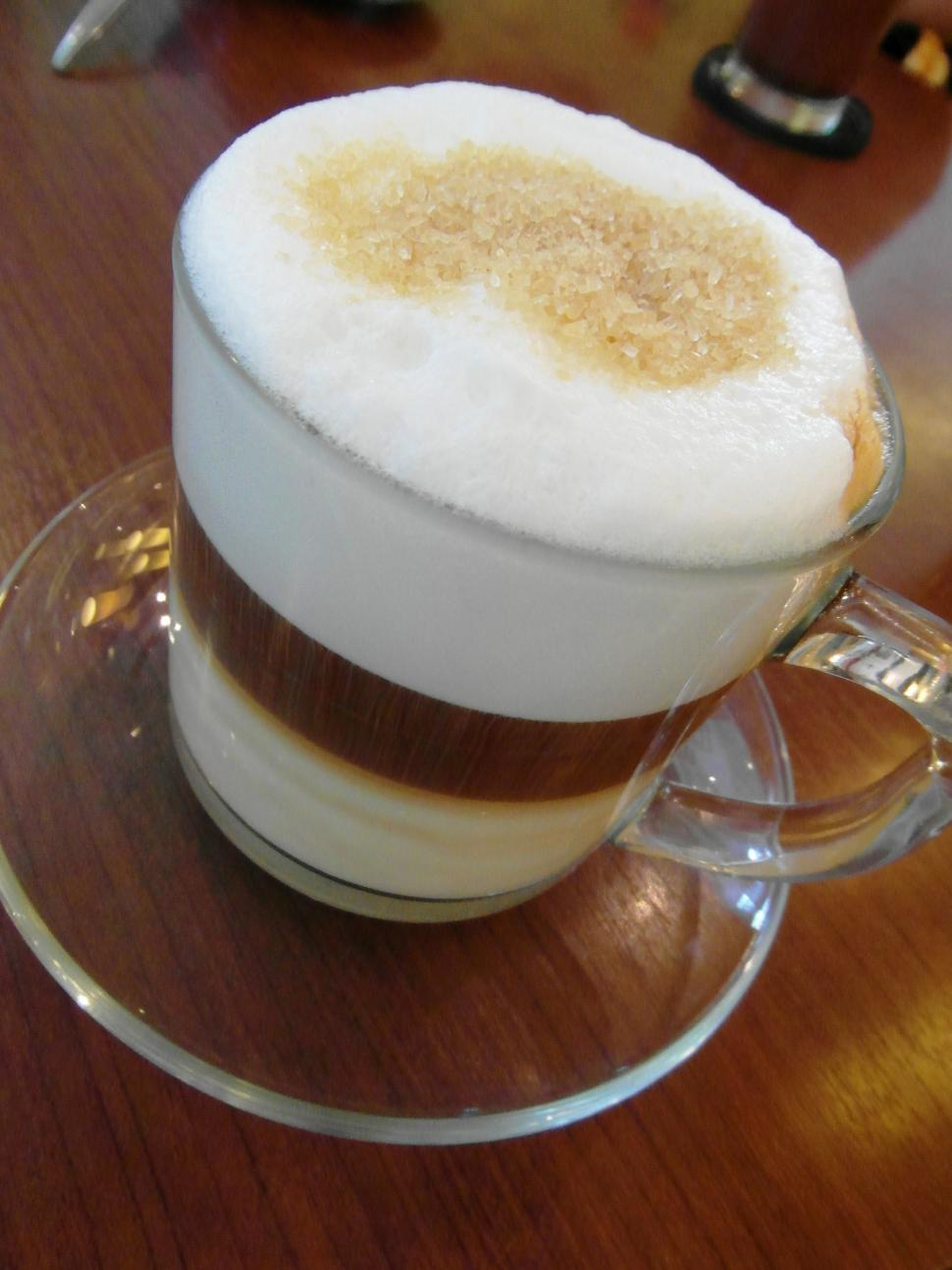 Download Free Stock HD Photo of Layered Latte in Clear Glass Online