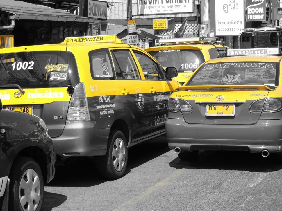 Download Free Stock HD Photo of taxi, selective colour mode - yellow Online