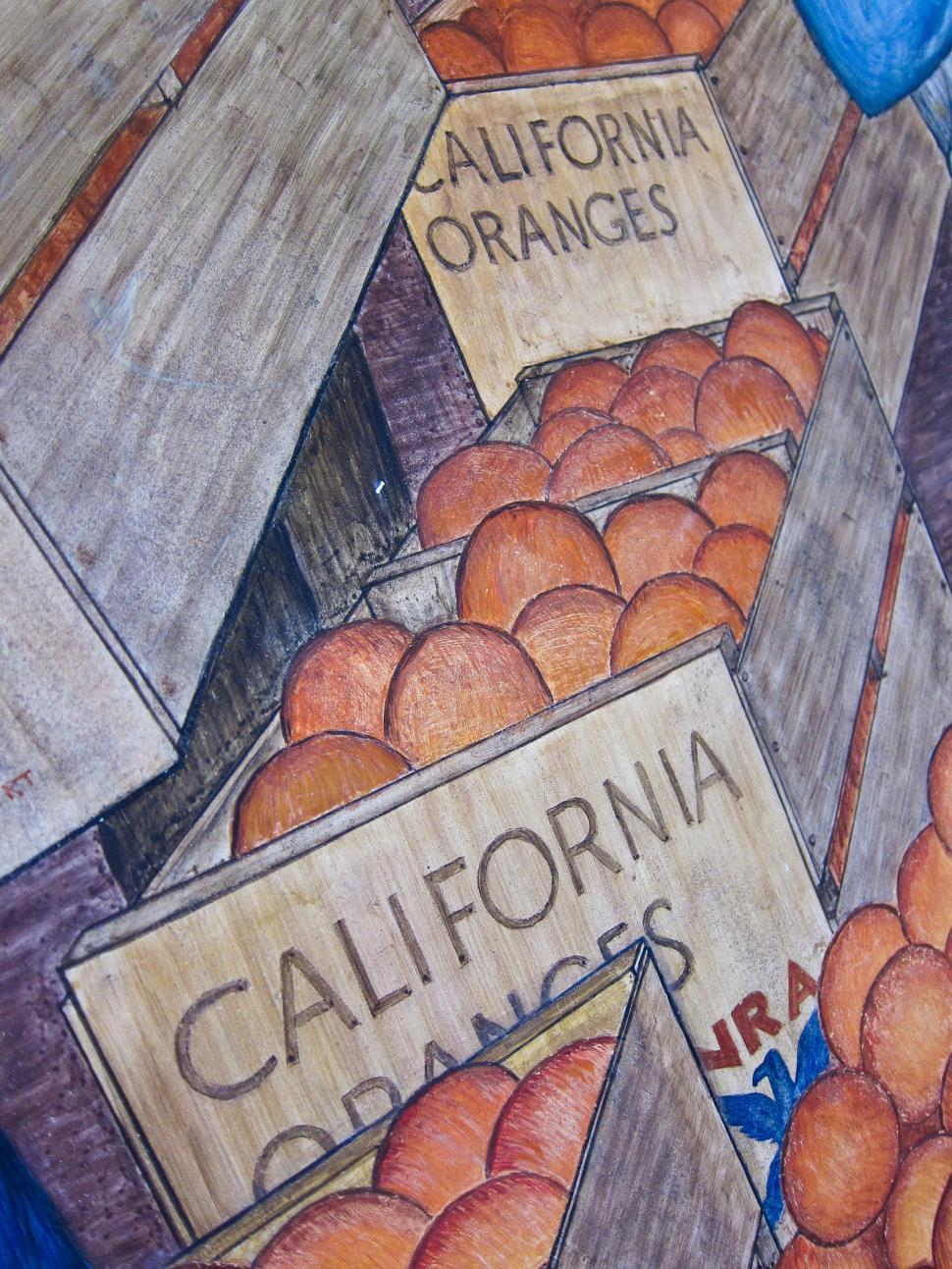 Download Free Stock HD Photo of Mural of Oranges in Boxes Online