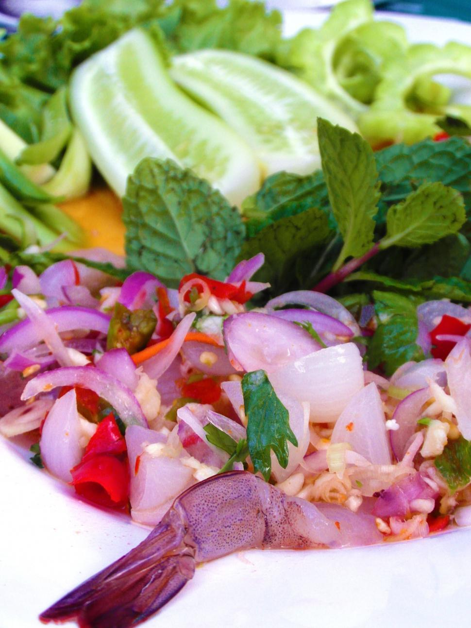 Download Free Stock HD Photo of Spicy Raw-Prawn Salad Online