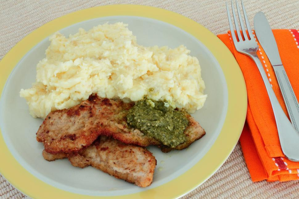 Download Free Stock HD Photo of schnitzels and mash potatoes Online